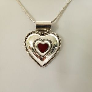Jewelry - Large Sterling Silver/Red Heart Necklace